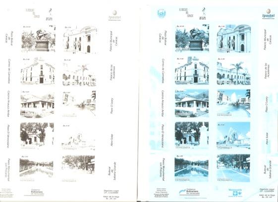 Lot#384: CARACAS PLACES RECOVERY, SHEET IMPER. BLUE COLOR, SHEET IMPER. BLACK COLOR (Prox. Oferta Mínima: 13)