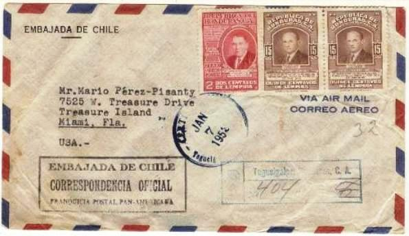 Lot#139: OFFICIAL CHILEAN EMBASSY MAIL COVER  (Prox. Oferta Mínima: 2.25)