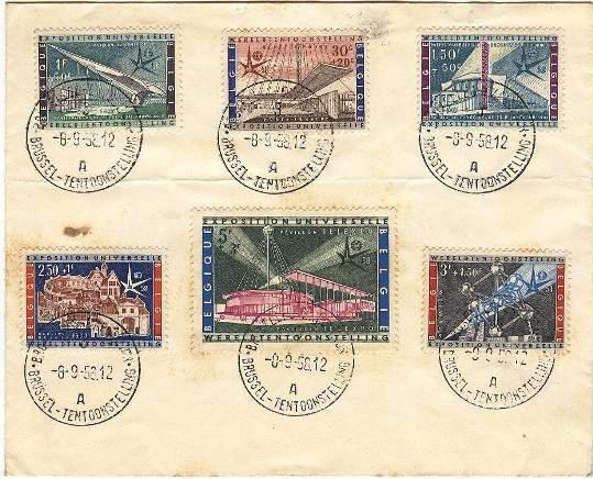 Lot#28: B619 - B624 ON FDC WORLD FAIR BRUSSELS 1958  (Prox. Oferta Mínima: 3.25)