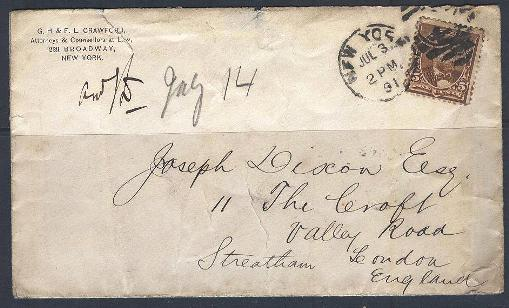 Lot#268: 223, STAMPED COVER YEAR 1891, NY TO LONDON CACHET ON BACK (Prox. Oferta Mínima: 5.25)