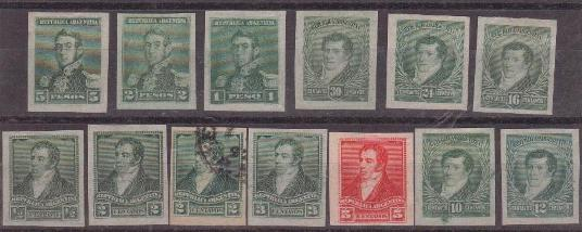 Lot#8: 92B - 105A, IMPERF SINGLES, (96A WITH GUM, 94A USED) W / OUT 93A, 102A, INCL. 30CTS.  (Prox. Oferta Mínima: 16)