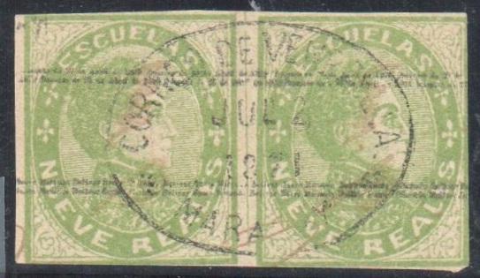 Lot#324: 32, NUEVE REALES HORIZ PAIR, CORREOS CACHET 1871  (Prox. Oferta Mínima: 42)