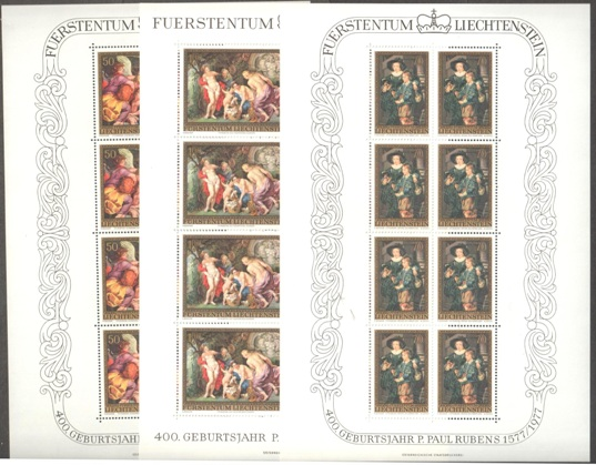 Lot#142: 595 - 597 IN SHEETS OF 8 RUBENS PAINTINGS  (Prox. Oferta Mínima: 19)